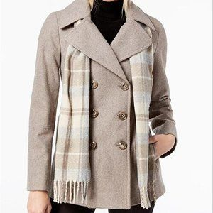 London Fog Double Breasted Peacoat with Scarf